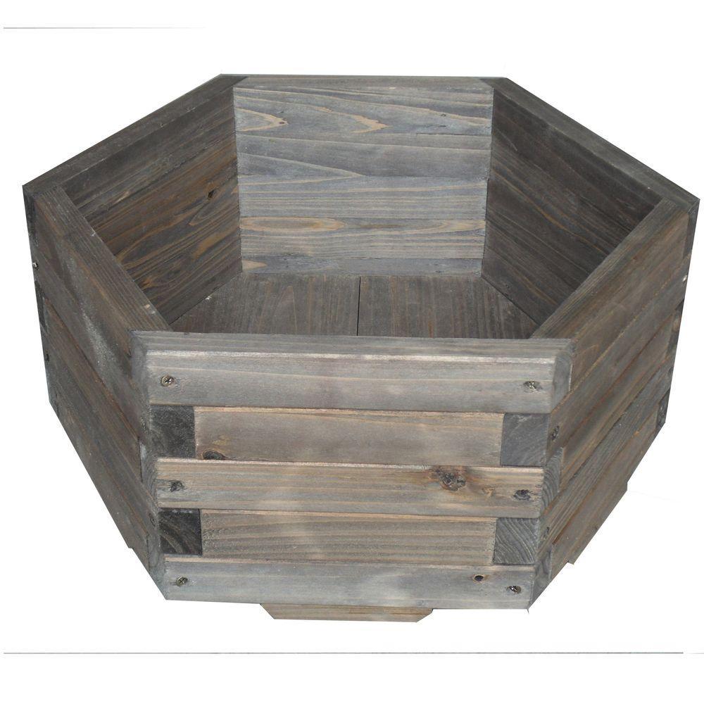 Elegant Home Fashions 20 in. dia. All Wood Hexagon Barrel Planter