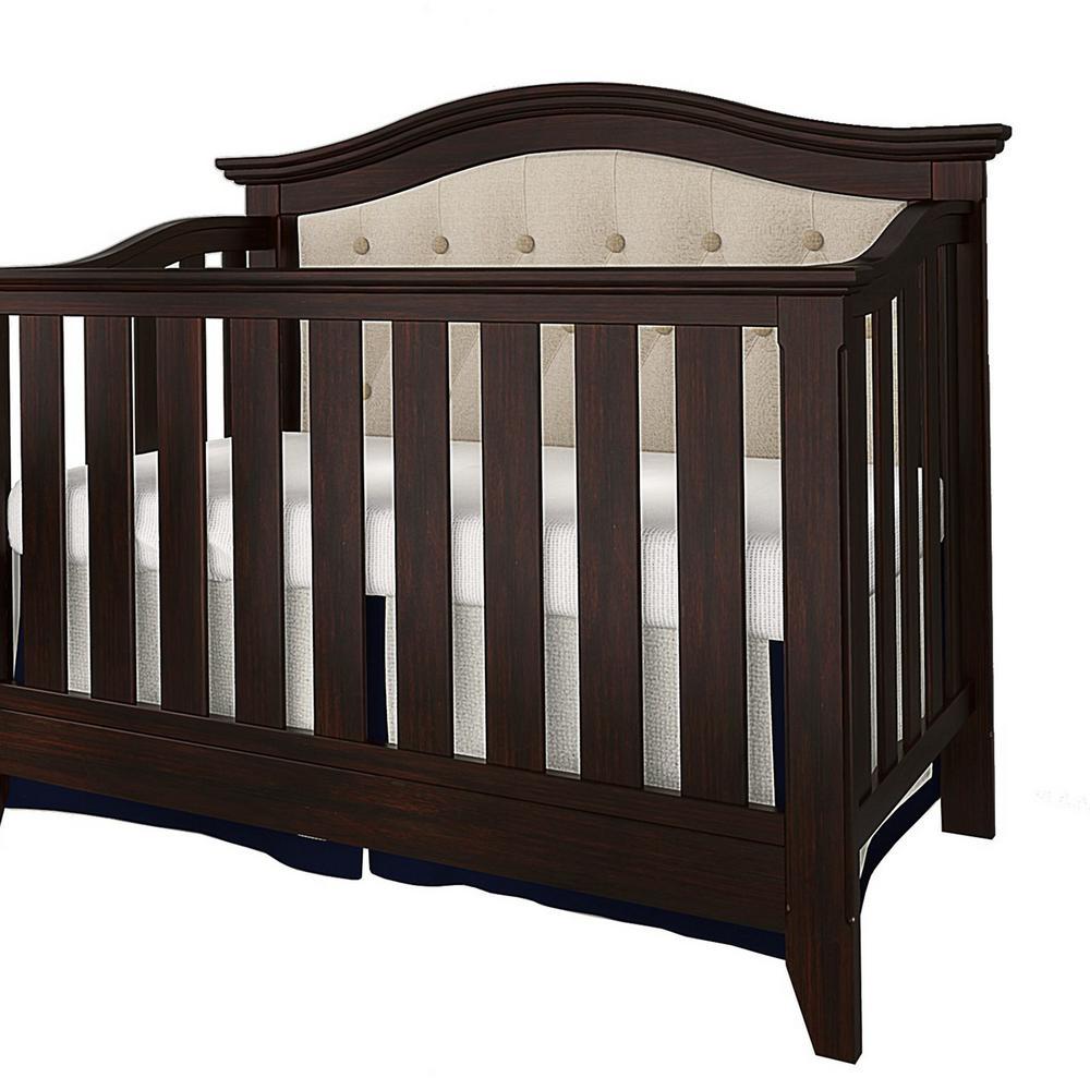 Magnolia Espresso Beige Linen Upholstered Convertible Crib