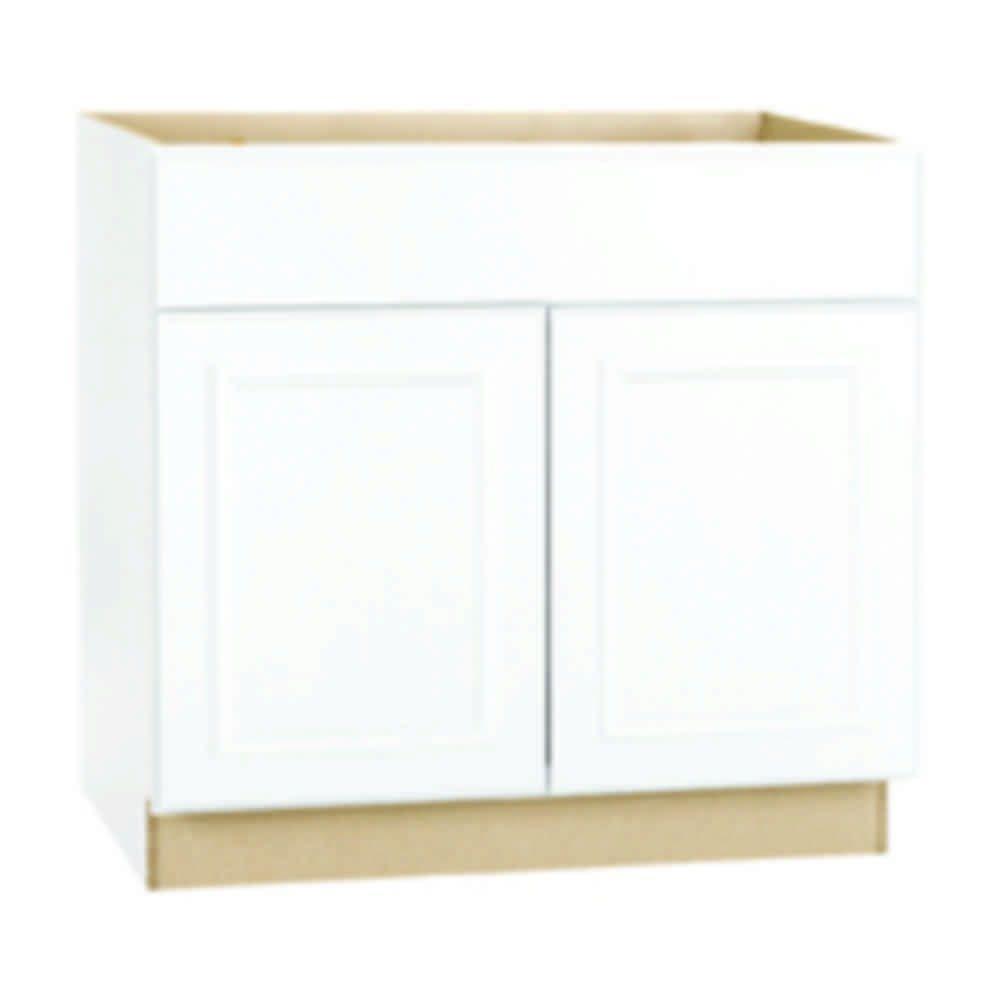 Hampton Assembled 30 in. x 34.5 in. x 24 in. Sink Base Kitchen Cabinet in Satin White