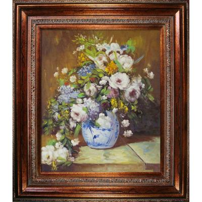 """Grande Vase Di Fiori with Mediterranean Bronze"" by Pierre-Auguste Renoir Framed Abstract Oil Painting 34 in. x 30 in."
