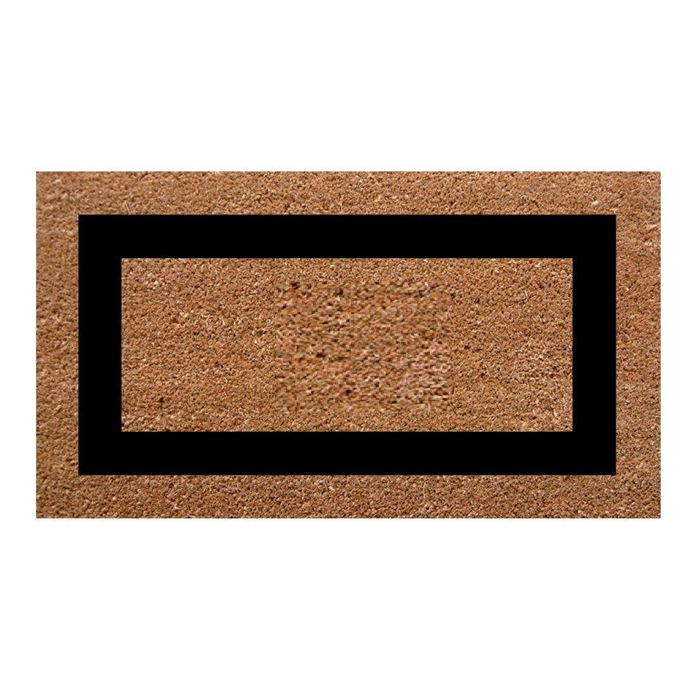 NediaHome Nedia Home Single Picture Frame Black 20 in. x 36 in. SuperScraper Plain Door Mat, Black/Brush