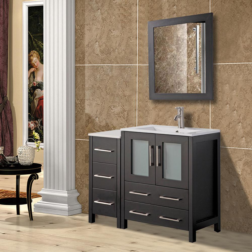 Vanity Art Brescia 36 in. W x 18 in. D x 36 in. H Bath Vanity in Espresso with Vanity Top in White with White Basin and Mirror