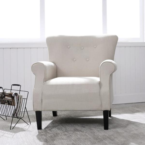 Cream Beige Upholstery Arm Chair