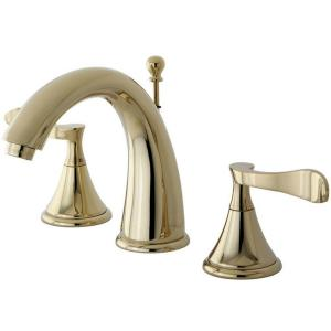 Kingston brass modern 8 in widespread 2 handle high arc bathroom faucet in polished brass for Polished brass high arc bathroom faucet