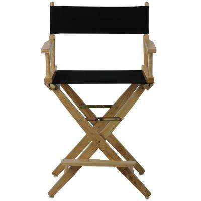 Natural Extra-Wide Frame/Black Canvas American Hardwood 24 in. Directors Chair