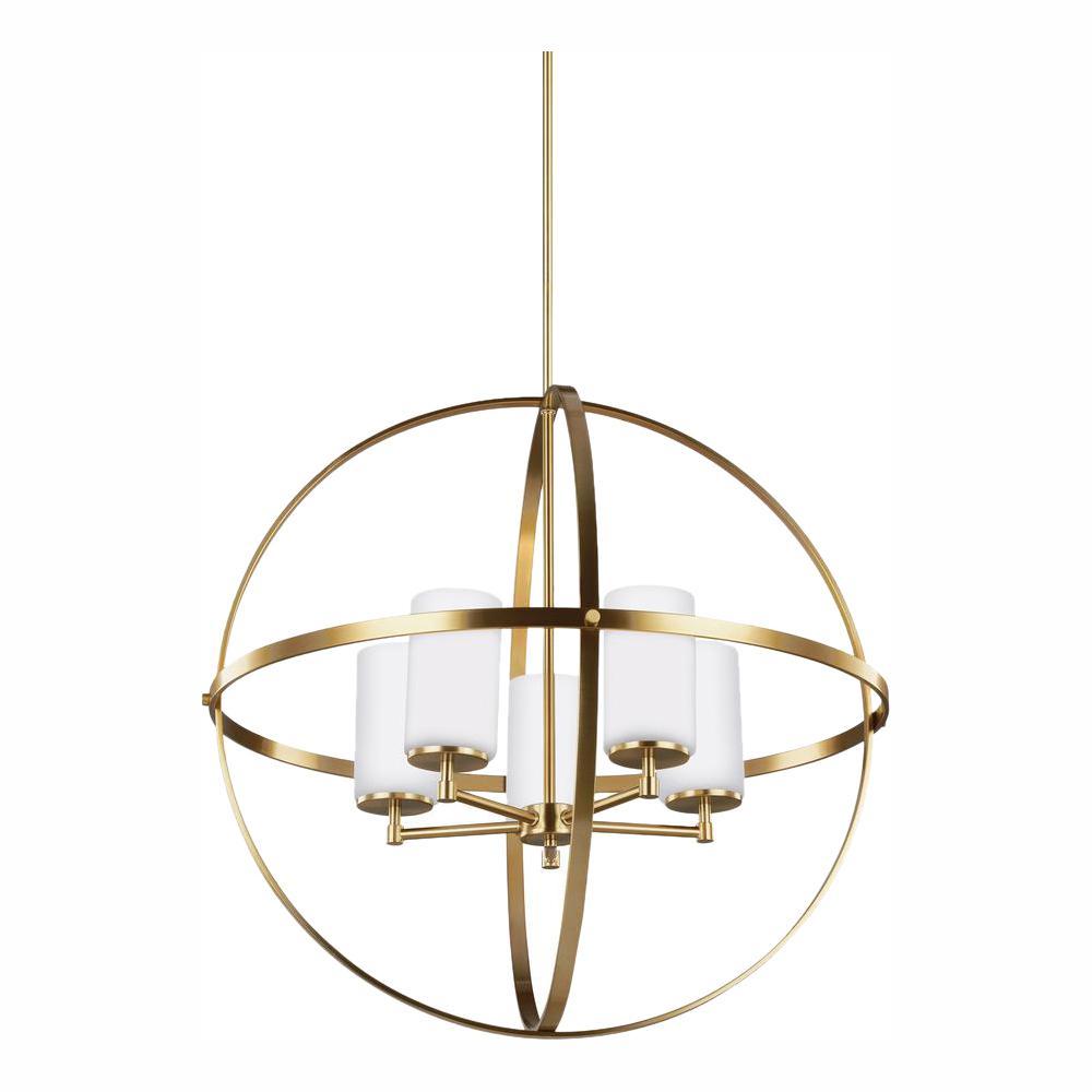 Alturas 5-Light Satin Brass Chandelier with LED Bulbs
