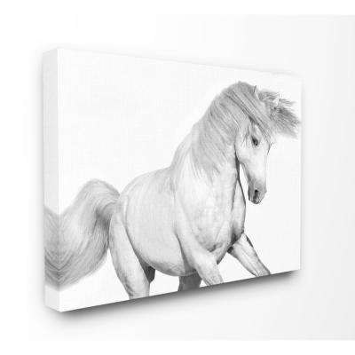 "24 in. x 30 in. ""Majestic Black and White Horse Bucking in the Wind Painting"" by Artist Samantha Carter Canvas Wall Art"