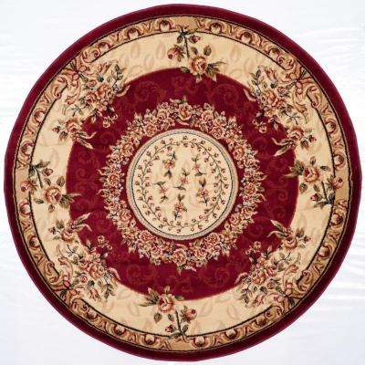 Lyndhurst Red/Ivory 5 ft. 3 in. x 5 ft. 3 in. Round Area Rug
