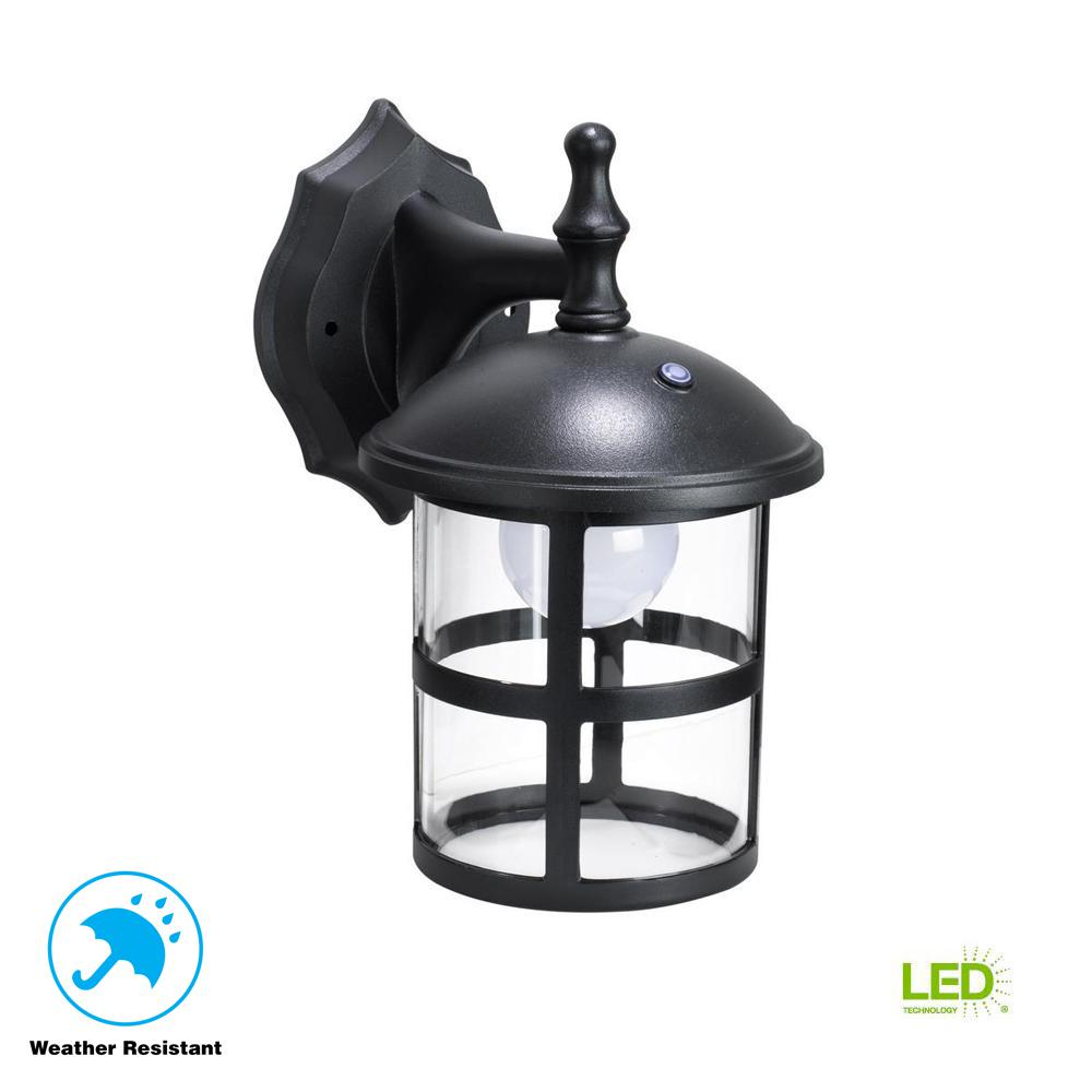 Black Outdoor Integrated LED Wall Mount Lantern