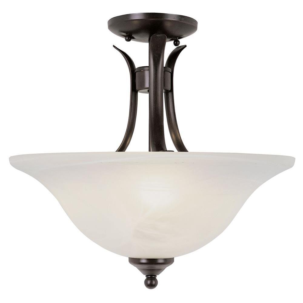 Stewart 2-Light Rubbed Oil Bronze CFL Ceiling Semi-Flush Mount Light