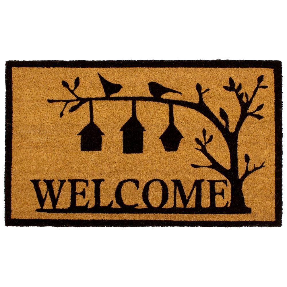 All Weather Bird House Welcome 18 in. x 28 in. Indoor/Outdoor Printed Coir Mat