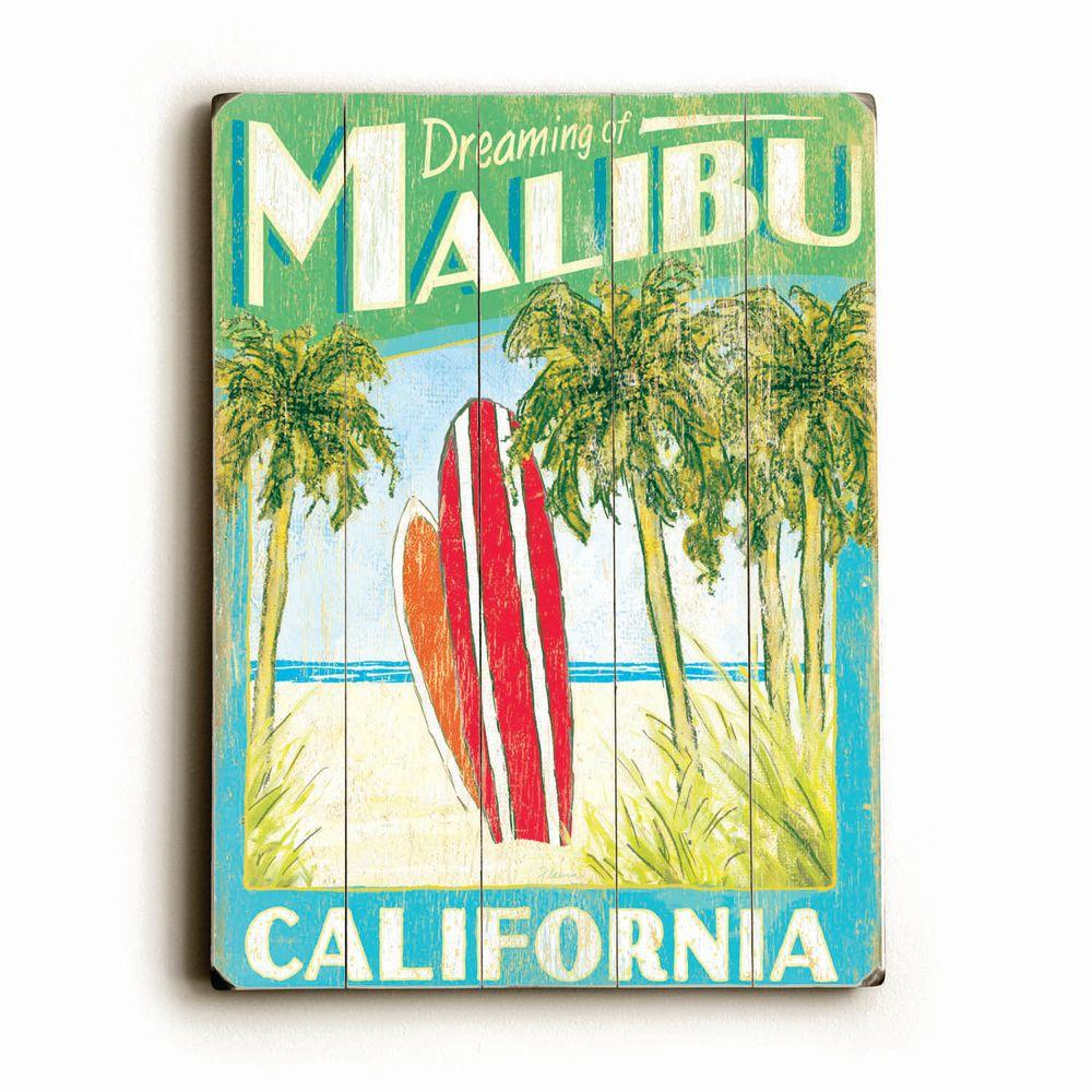 ArteHouse 14 in. x 20 in. Dreaming of Malibu Surfboards Vintage Wood Sign-DISCONTINUED