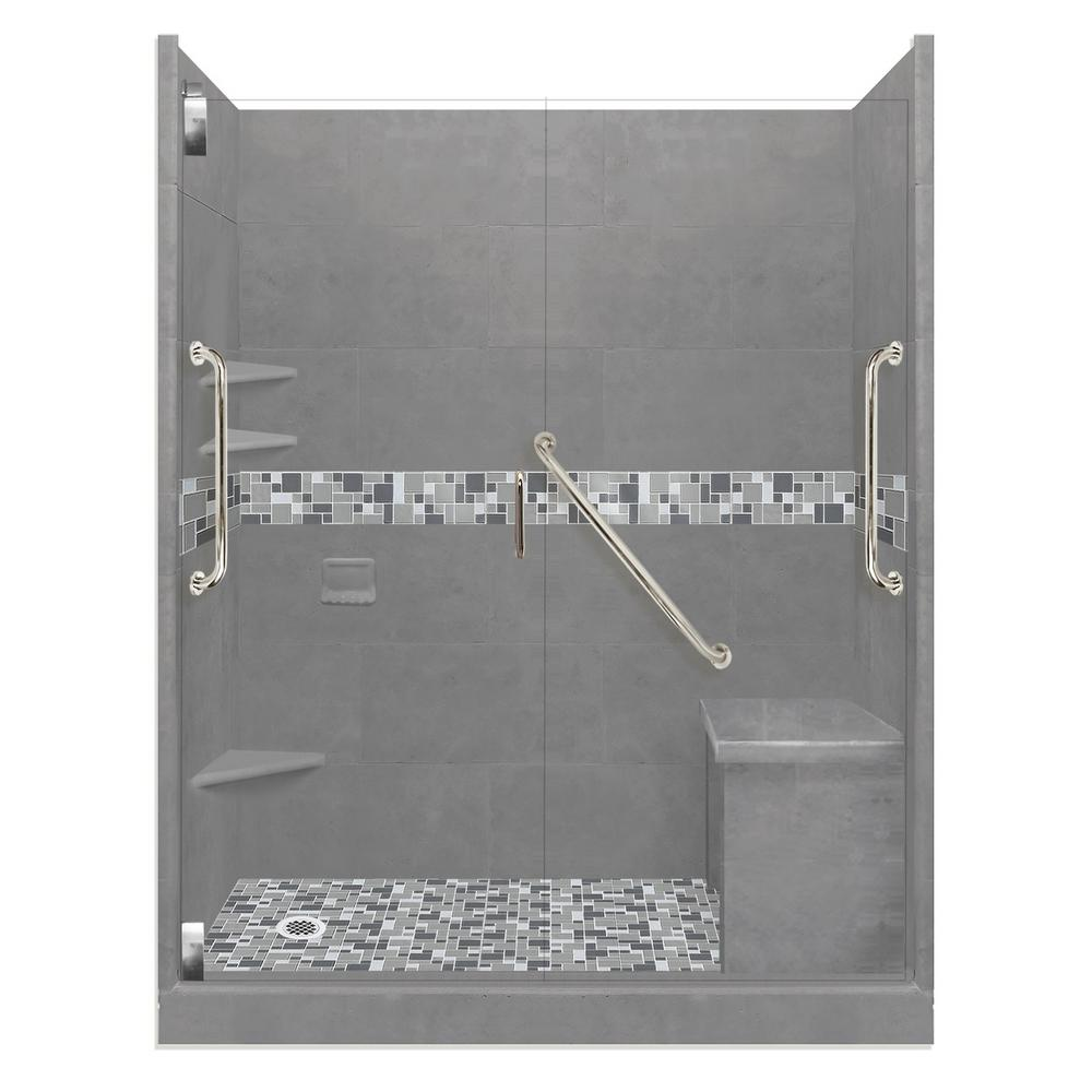 American Bath Factory Newport Freedom Grand Hinged 42 in. x 60 in. x 80 in. Left Drain Alcove Shower Kit in Wet Cement and Chrome Hardware