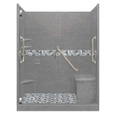 Newport Freedom Grand Hinged 36 in. x 60 in. x 80 in. Left Drain Alcove Shower Kit in Wet Cement and Satin Nickel