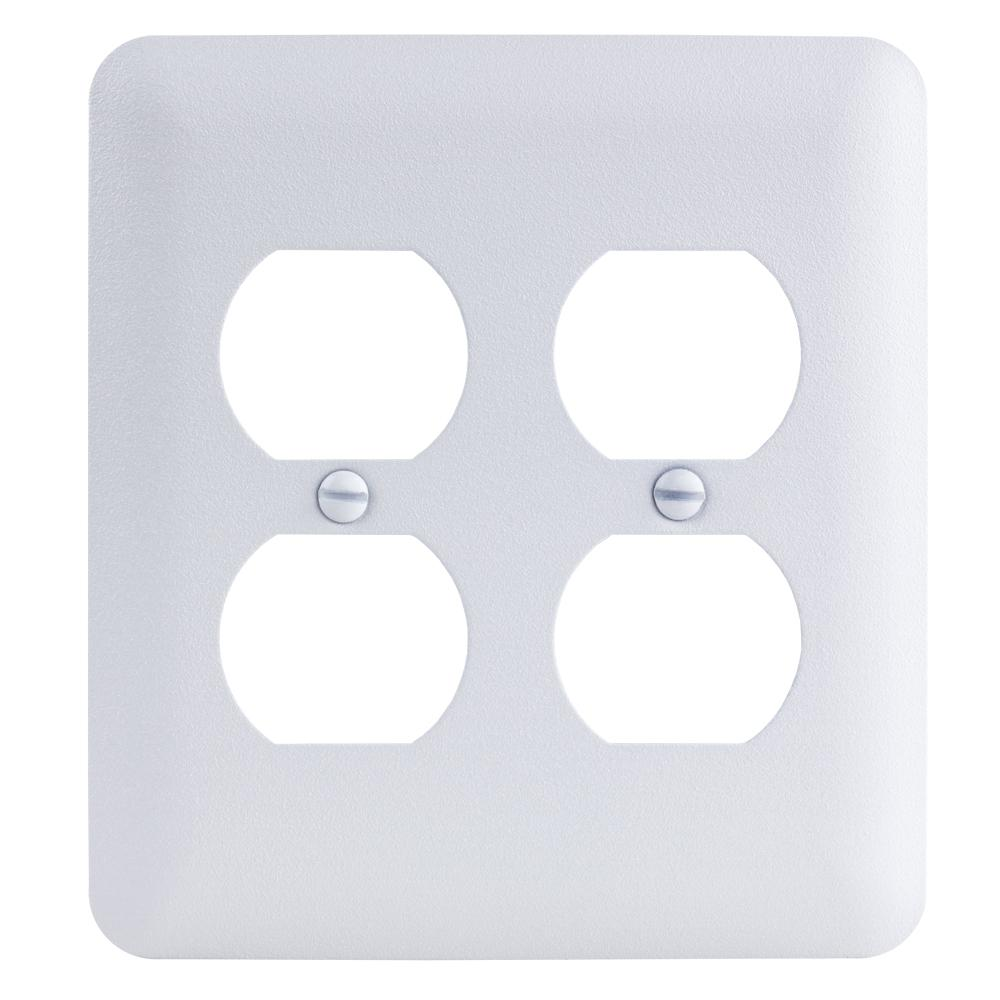 2-Gang Duplex Maxi Metal Wall Plate, White Textured