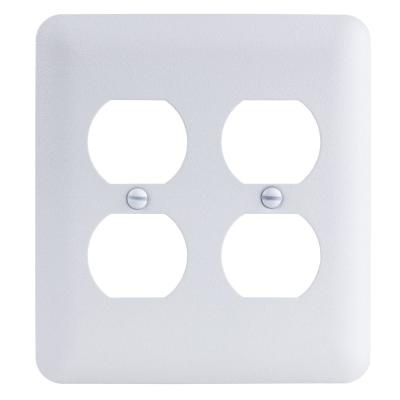 White 2-Gang Duplex Outlet Wall Plate (1-Pack)