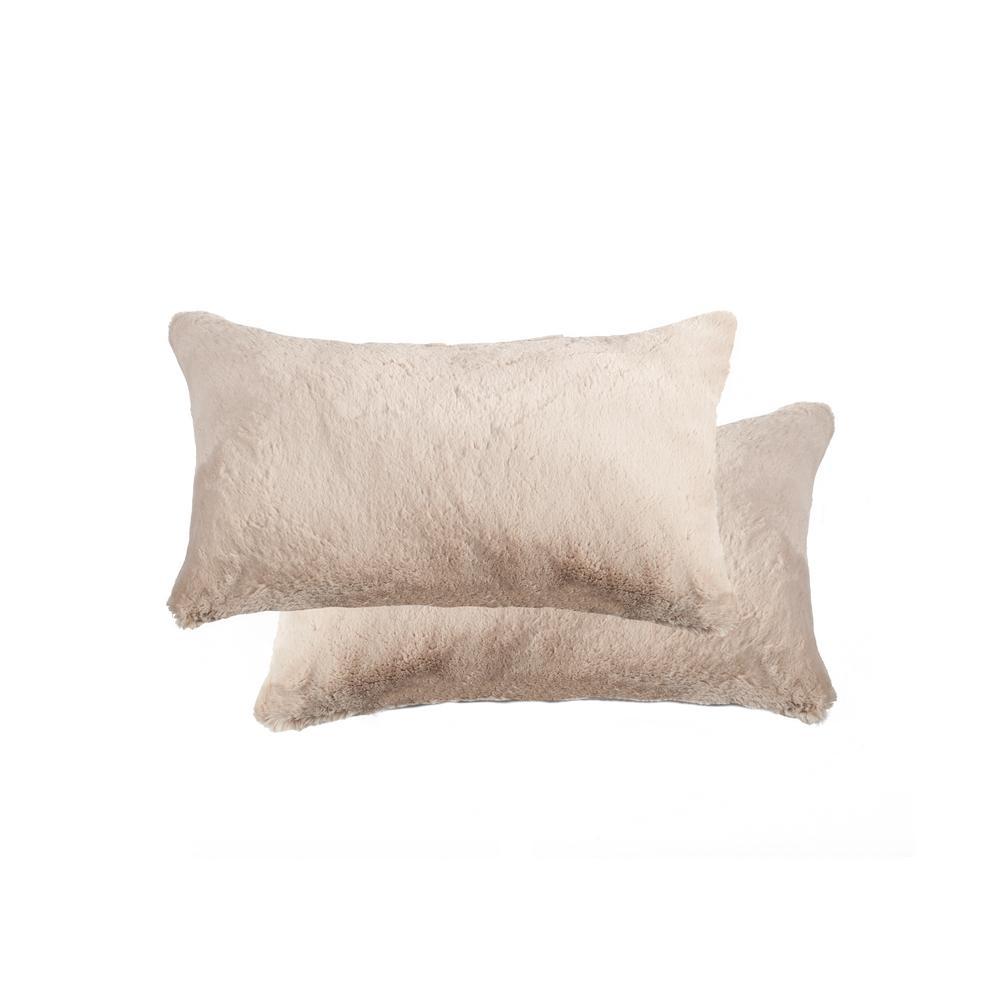 12 in. x 20 in. Belton Beige Faux Fur Pillow (Set of 2)