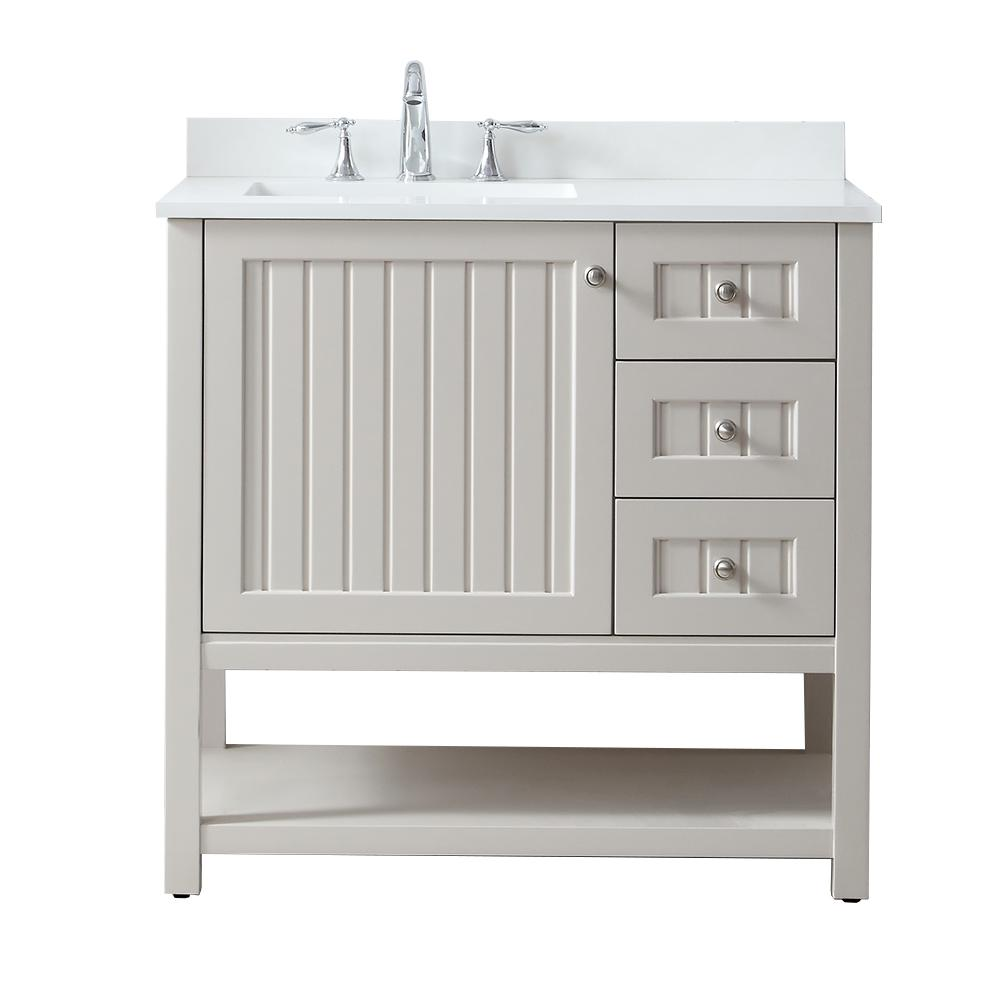 . Martha Stewart Living Seal Harbor 36 in  W x 22 in  D Vanity in Sharkey  Grey with Quartz Vanity Top in Pure White with White Basin