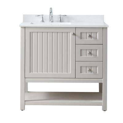 Seal Harbor 36 in. W x 22 in. D Vanity in Sharkey Grey with Quartz Vanity Top in Pure White with White Basin