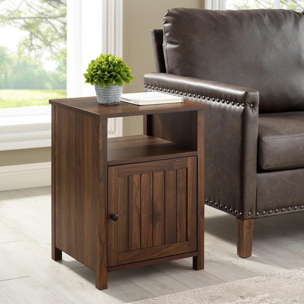 Dark Walnut Modern End Table With Open Shelf and 1-Door
