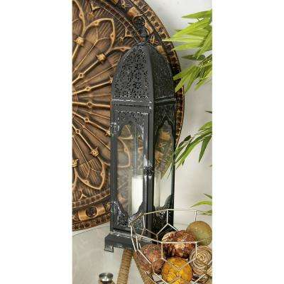 27 in. Moroccan Blue Metal and Glass Candle Lantern