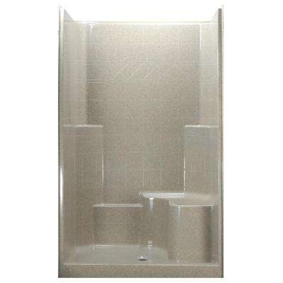 48 in. x 37 in. x 80 in. 1-Piece Low Threshold Shower Stall in Beach with Right Hand Side, Molded Seat, Center Drain