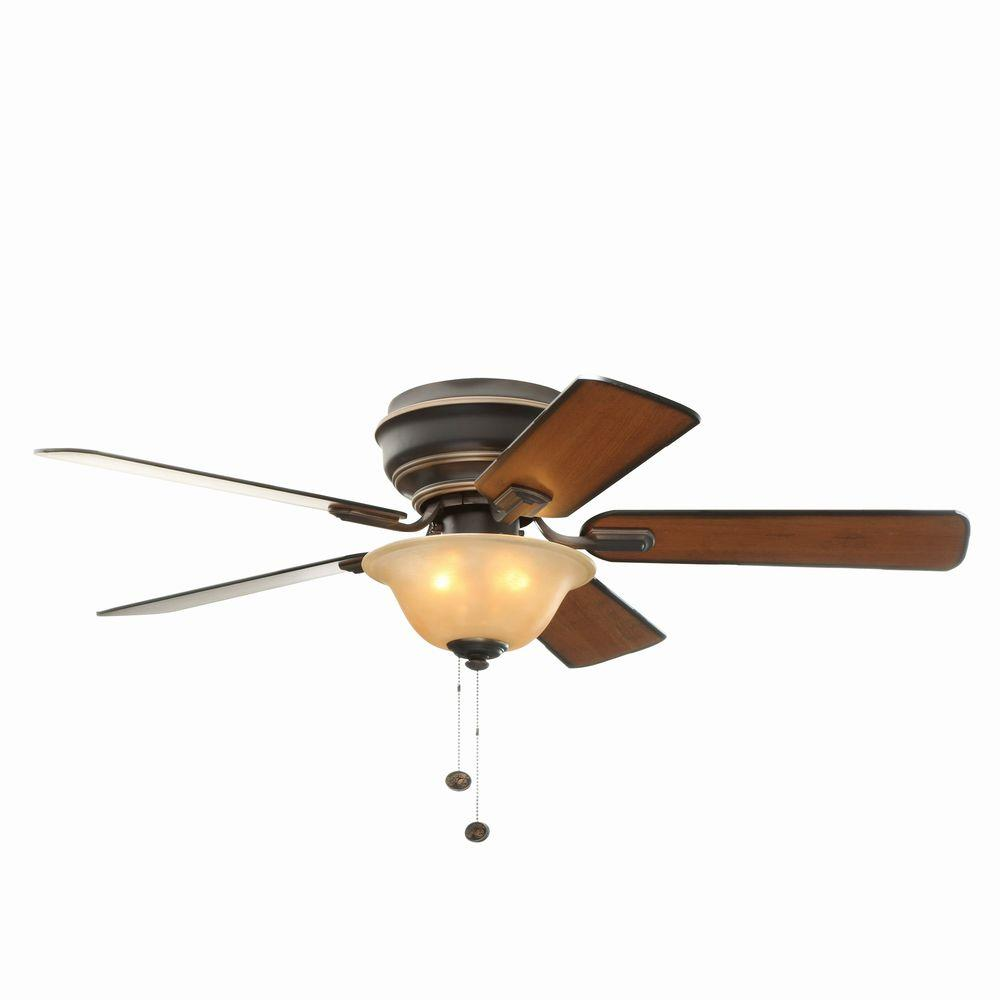 Hampton Bay Hawkins 44 in. Indoor Tarnished Bronze Ceiling Fan with Light Kit