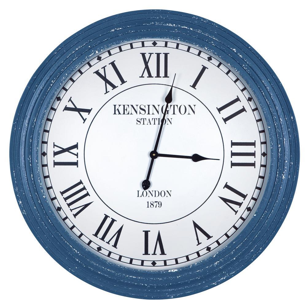 Yosemite Home Decor Kensington Station Distressed Blue Ribbed Wall Clock