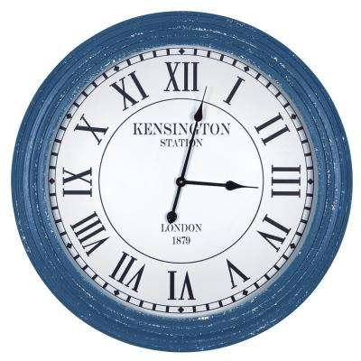Kensington Station Distressed Blue Ribbed Wall Clock