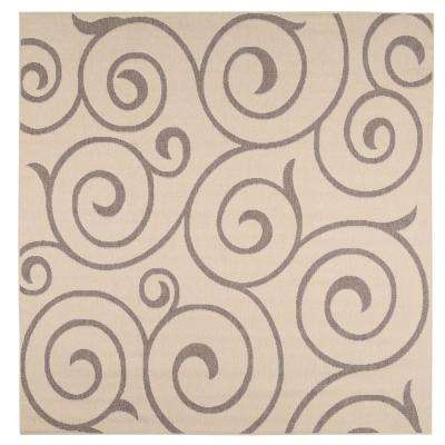 Whirl Cocoa/Natural 9 ft. x 9 ft. Square Indoor/Outdoor Area Rug