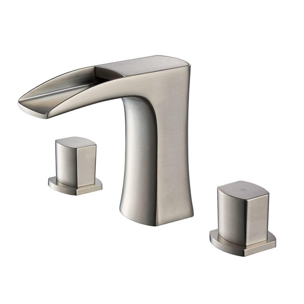 Fortore 8 in. Widespread 2-Handle Low-Arc Bathroom Faucet in Brushed Nickel