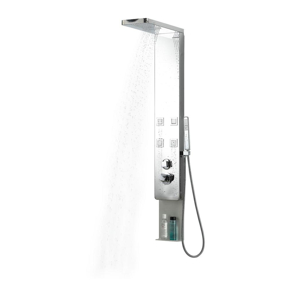4-Jets Shower Panel System in Stainless Steel with Rainfall/Waterfall Hand