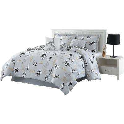 Love What You Do 7-Piece Grey/Yellow King Reversible Comforter Set