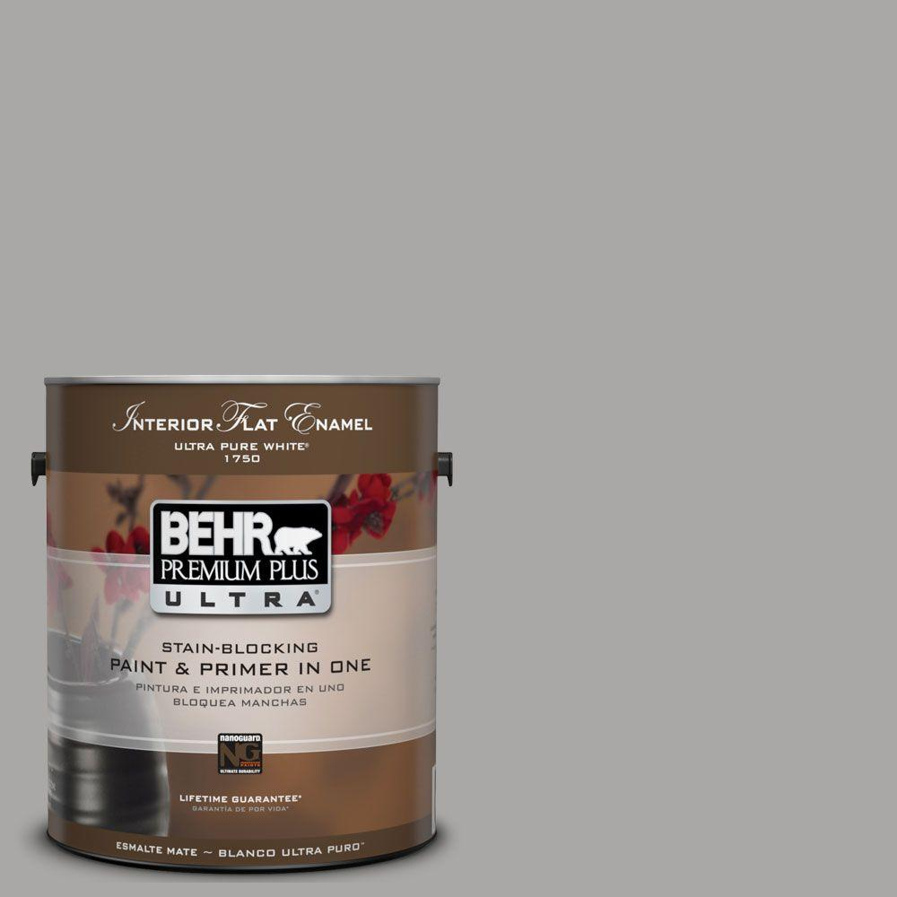 BEHR Premium Plus Ultra 1-gal. #UL260-7 Cathedral Gray Interior Flat Enamel Paint