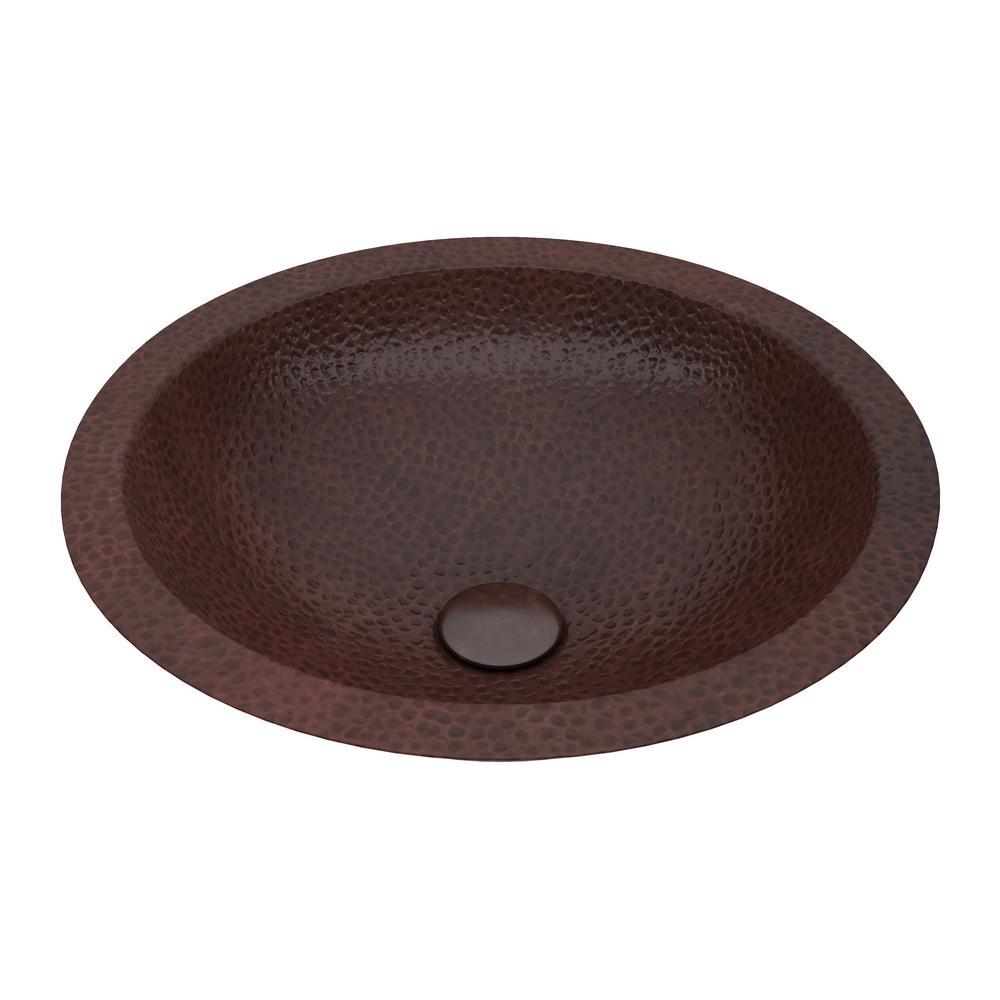 Magnus 16 in. Drop-In Round Bathroom Sink in Hammered Antique Copper