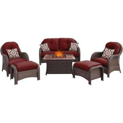 Newport 6-Piece Woven Patio Seating Set with Wood Grain-Top Fire Pit with Crimson Red Cushions