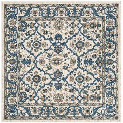 Carolina Cream/Dark Blue 5 ft. x 5 ft. Square Area Rug