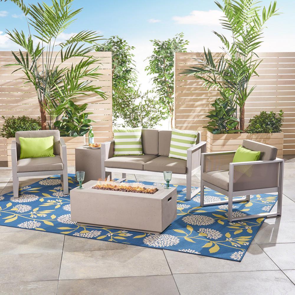 Aldo Silver 5-Piece Aluminum Patio Fire Pit Conversation Set with Khaki Cushions