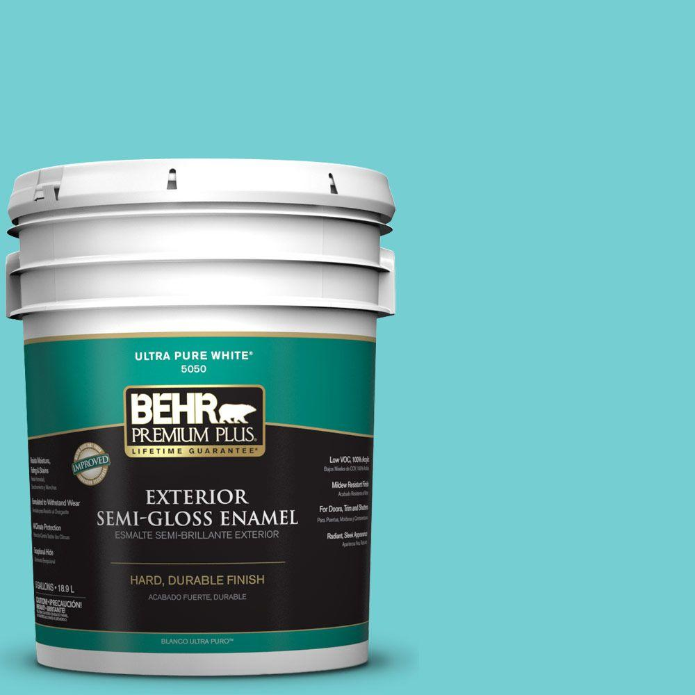 5-gal. #P460-3 Soft Turquoise Semi-Gloss Enamel Exterior Paint