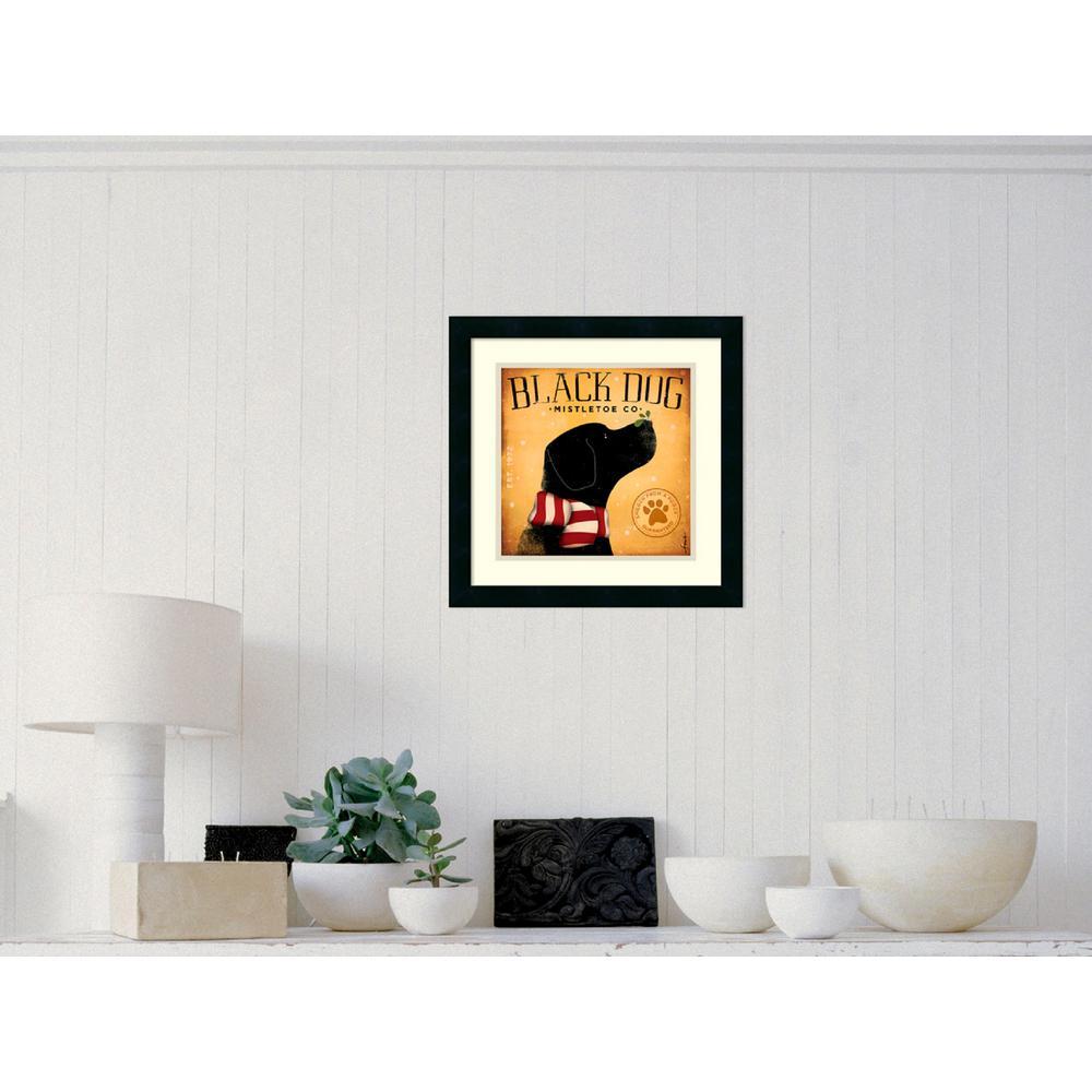 "18 in. W x 18 in. H ""Black Dog Mistletoe"" by Stephen Fowler Framed Art Print"