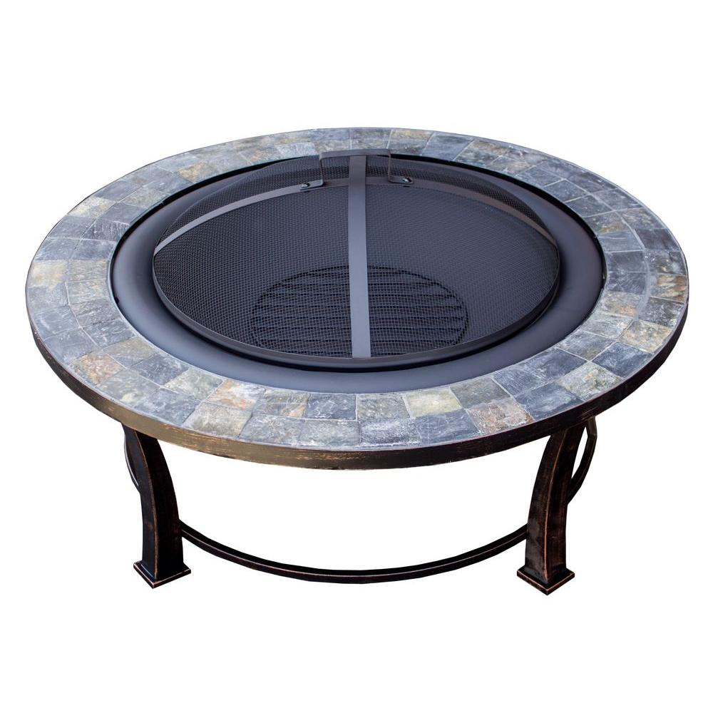 Round Slate Wood Burning Firepit In Black