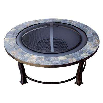 40 in. Round Slate Wood Burning Firepit in Black