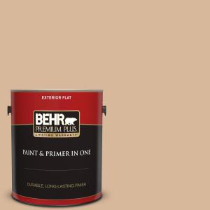Behr Premium Plus 1 Gal S260 3 Dusty Gold Flat Exterior Paint And Primer In One 440001 The Home Depot