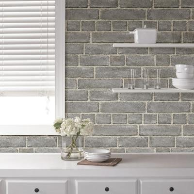 Grey Brick Facade Peel and Stick Wallpaper Sample