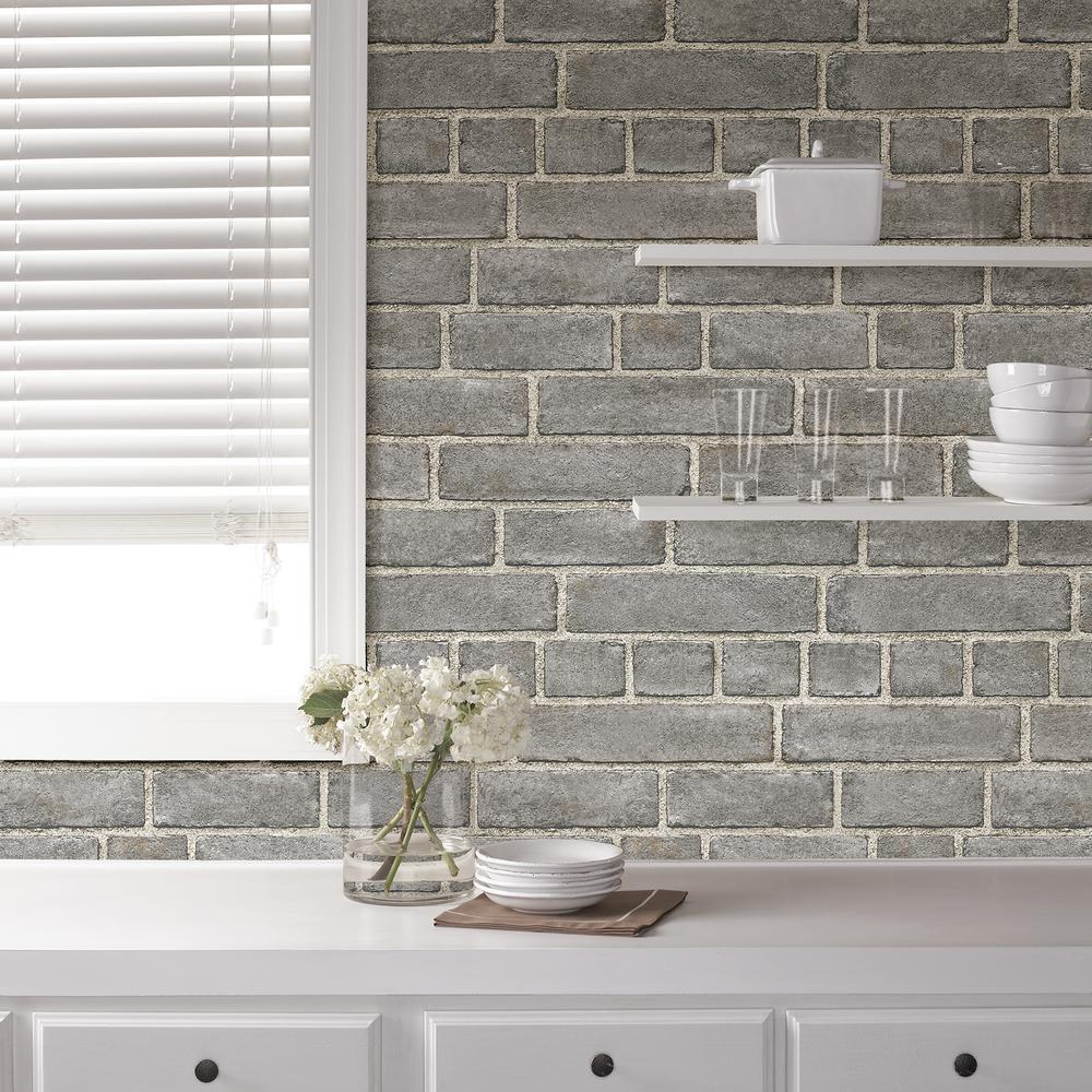 Nuwallpaper Grey Brick Facade Peel And Stick Wallpaper Sample Nu2236sam The Home Depot