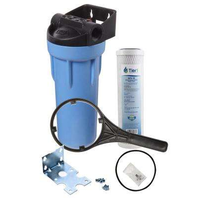 10 in. Whole House Water Filtration System with Pressure Release and Carbon Filter Change Kit