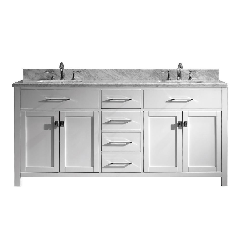 Caroline 72 in. W x 22 in. D Double Vanity in White with Marble Vanity Top in White with White Basin