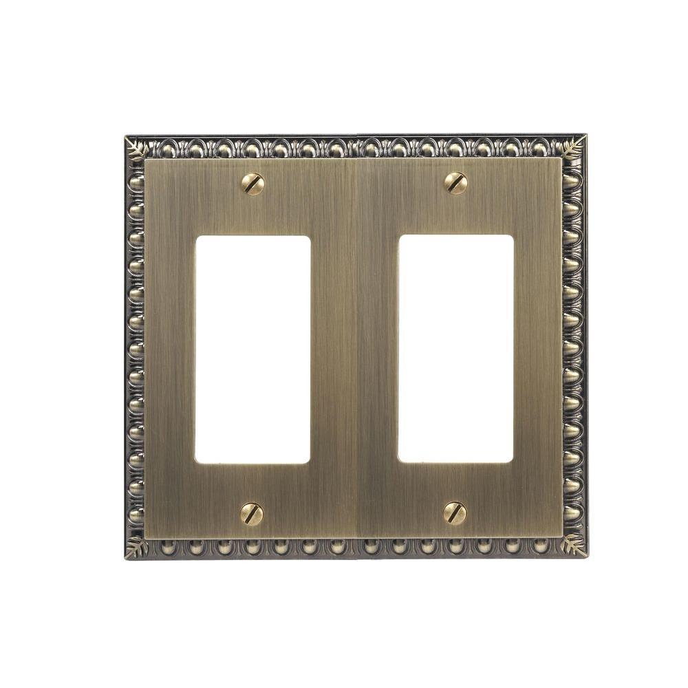 Antiquity 2 Gang Rocker Metal Wall Plate - Brushed Brass