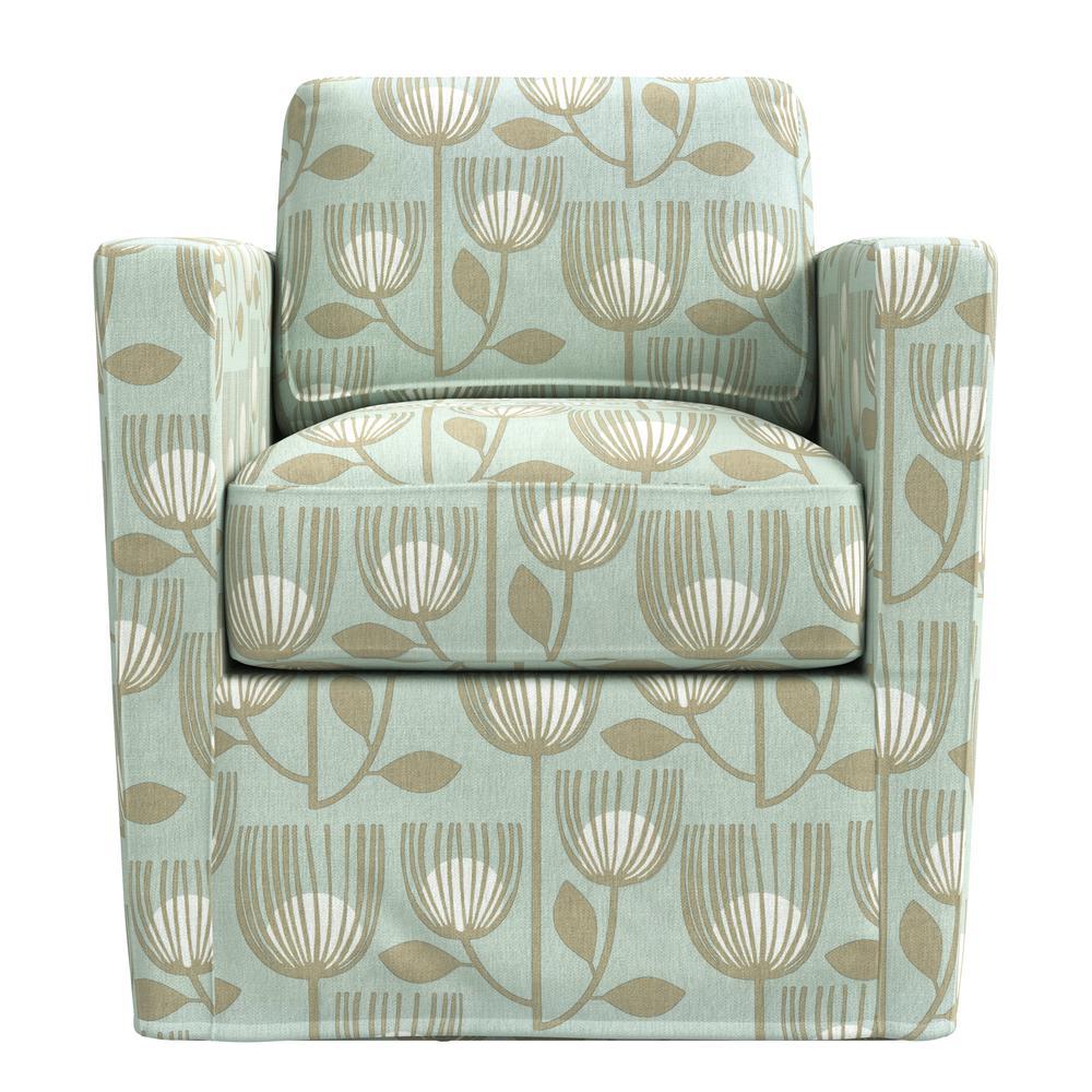 Anastasia Sky Blue Modern Tulip Print Swivel Club Chair