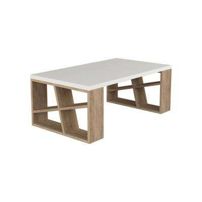 Brian White and Oak Modern Coffee Table